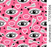 vector background with lips ... | Shutterstock .eps vector #772705306