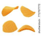 set of vector potato rippled... | Shutterstock .eps vector #772707772