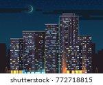 night moon crescent skyscrapers ... | Shutterstock .eps vector #772718815