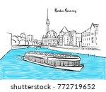 berlin sightseeing panorama... | Shutterstock .eps vector #772719652