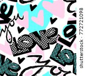 love you valentine's day print  ... | Shutterstock .eps vector #772721098