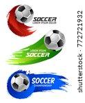soccer ball banner of football... | Shutterstock .eps vector #772721932