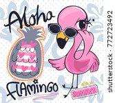 cute flamingos girl cartoon... | Shutterstock .eps vector #772723492