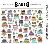 vector set with hand drawn... | Shutterstock .eps vector #772723966