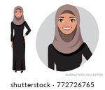 arab women character is happy... | Shutterstock .eps vector #772726765
