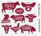 set of butchery logo  label ... | Shutterstock .eps vector #772728178