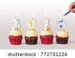 2018 happy new year cupcakes... | Shutterstock . vector #772731226