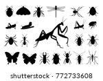 set of silhouettes of insects ... | Shutterstock .eps vector #772733608