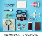 top view travel concept with... | Shutterstock . vector #772734796