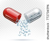 capsule pill and molecules as... | Shutterstock .eps vector #772736596