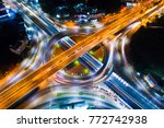 roundabout intersection city... | Shutterstock . vector #772742938