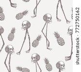 abstract cartoon skull on... | Shutterstock .eps vector #772750162