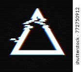 glitched triangle frame.... | Shutterstock .eps vector #772750912