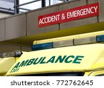 the yellow roof of an nhs... | Shutterstock . vector #772762645