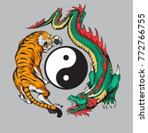 dragon fighting with tiger... | Shutterstock .eps vector #772766755