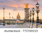 the alexander iii bridge across ... | Shutterstock . vector #772769215