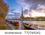 the eiffel tower and river... | Shutterstock . vector #772769242