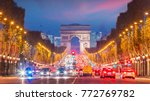famous champs elysees and arc... | Shutterstock . vector #772769782