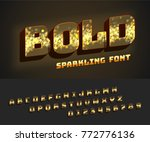 vector glowing bold alphabet... | Shutterstock .eps vector #772776136