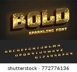 vector glowing bold alphabet... | Shutterstock .eps vector #772776136