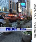 Small photo of New York, NY, USA December 11, 2017 Police and rescue crews close off part of Times Square in New York following an explosion at the Port Authority Bus Terminal.