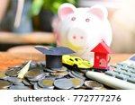 money saving pile on table for... | Shutterstock . vector #772777276