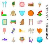 Papoose Icons Set. Cartoon Set...