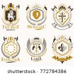 set of vector vintage emblems... | Shutterstock .eps vector #772784386