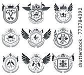 heraldic emblems isolated... | Shutterstock .eps vector #772784392