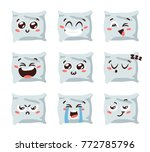 cartoon funny pillows isolated... | Shutterstock .eps vector #772785796