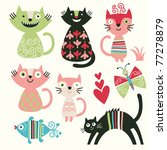 set of cartoon cute cats | Shutterstock .eps vector #77278879
