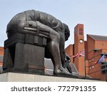 Small photo of LONDON - AUGUST 16, 2016. 'Newton' is a 1995 bronze sculpture by Eduardo Paolozzi, after a painting of Issac Newton by William Blake, located on the British Library concourse in London, UK.