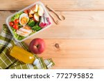 healthy lunch boxes in plastic... | Shutterstock . vector #772795852