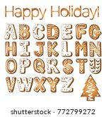 gingerbread cookies alphabet... | Shutterstock .eps vector #772799272