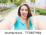 self portrait young woman mixed ... | Shutterstock . vector #772807486