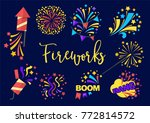 bright festive fireworks with...