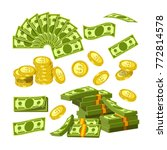 paper money and gold coins in... | Shutterstock .eps vector #772814578