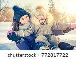 little girl and her mother... | Shutterstock . vector #772817722