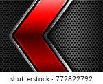 abstract red silver line arrow...   Shutterstock .eps vector #772822792