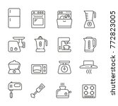 kitchen appliances  thin vector ... | Shutterstock .eps vector #772823005