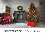 decorated christmas room with... | Shutterstock . vector #772825192