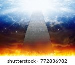 dramatic religious background   ... | Shutterstock . vector #772836982