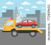 car on tow truck on the city... | Shutterstock .eps vector #772839652