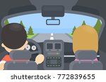 inside driving car. man and... | Shutterstock .eps vector #772839655