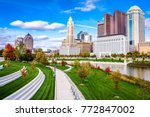 Small photo of Columbus, Ohio, USA skyline on the Scioto River.