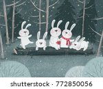Stock photo  merry christmas and happy new year illustration with cute bunny 772850056