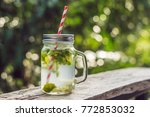 water with mint and lime. drink ... | Shutterstock . vector #772853032