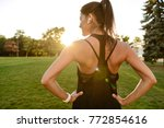back view of a slim fitness... | Shutterstock . vector #772854616