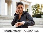 portrait of a pretty fitness... | Shutterstock . vector #772854766