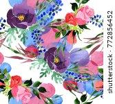 bouquet flower pattern in a... | Shutterstock . vector #772856452